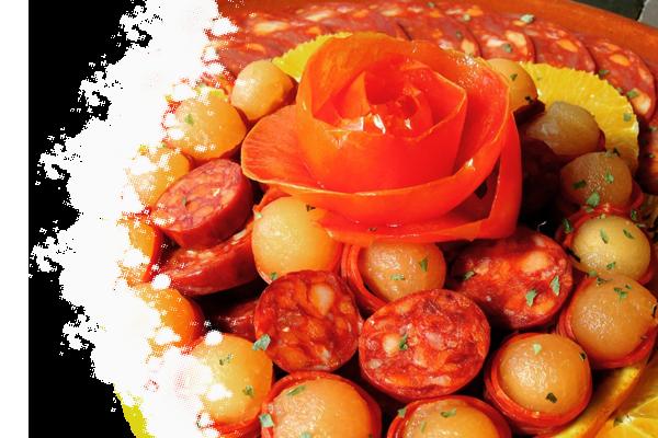 Chorizo met meloenbolletjes